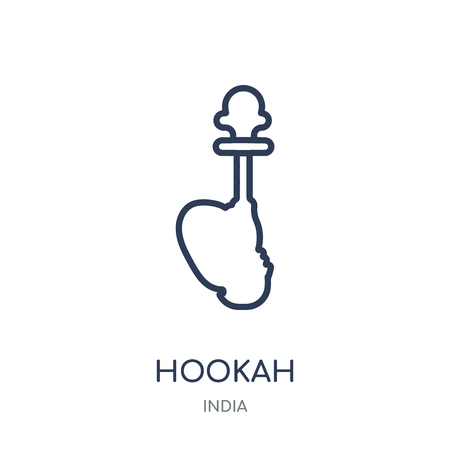 Hookah icon. Hookah linear symbol design from India collection. Simple outline element vector illustration on white background. Illustration