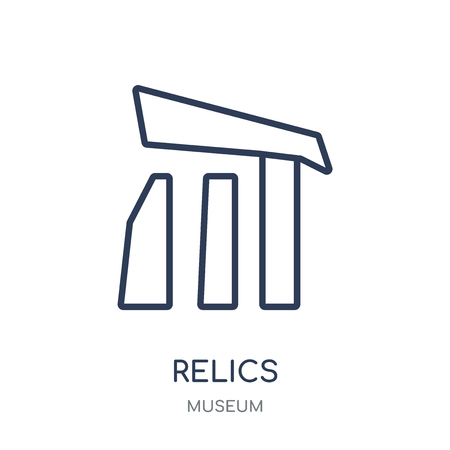Relics icon. Relics linear symbol design from Museum collection. Simple outline element vector illustration on white background. Иллюстрация