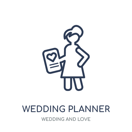 wedding planner icon. wedding planner linear symbol design from Wedding and love collection. Simple outline element vector illustration on white background.