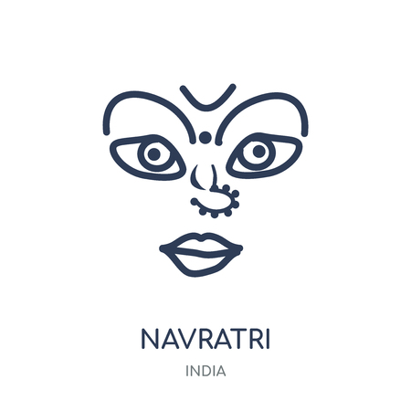 navratri icon. navratri linear symbol design from India collection. Simple outline element vector illustration on white background. Illustration