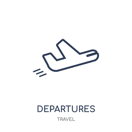 Departures icon. Departures linear symbol design from Travel collection. Simple outline element vector illustration on white background.