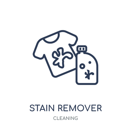 stain remover icon. stain remover linear symbol design from Cleaning collection. Simple outline element vector illustration on white background. Vettoriali