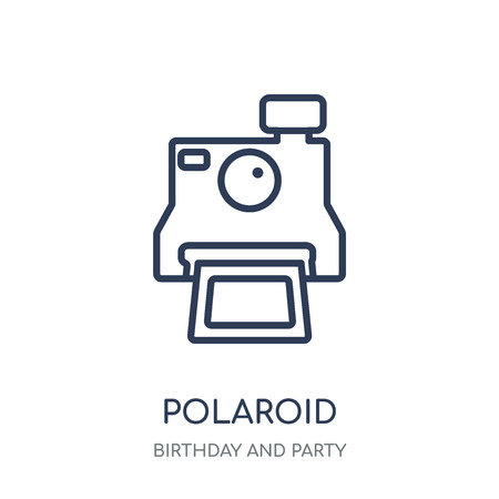 Polaroid icon. Polaroid linear symbol design from Birthday and Party collection. Simple outline element vector illustration on white background.