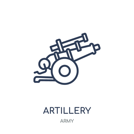 artillery icon. artillery linear symbol design from Army collection. Stock Vector - 111821041