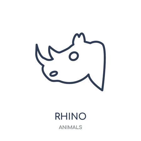 Nashorn-Symbol. Rhino lineares Symboldesign aus der Tiersammlung. Einfache Entwurfselementvektorillustration auf weißem Hintergrund.