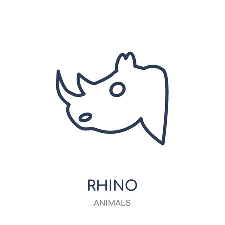 Rhino icon. Rhino linear symbol design from Animals collection. Simple outline element vector illustration on white background.
