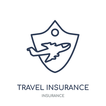 Travel insurance icon. Travel insurance linear symbol design from Insurance collection.