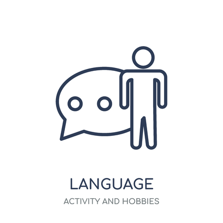 Language icon. Language linear symbol design from Activity and Hobbies collection. Simple outline element vector illustration on white background.