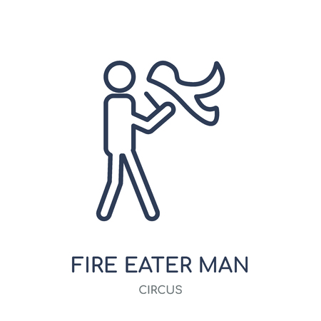 Fire eater man icon. Fire eater man linear symbol design from Circus collection. Simple outline element vector illustration on white background.