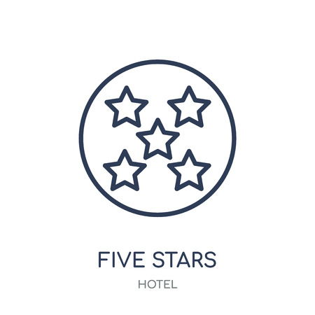 Five stars icon. Five stars linear symbol design from Hotel collection. Simple outline element vector illustration on white background. Ilustração