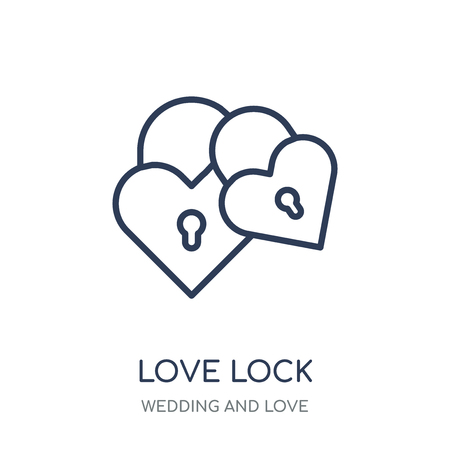 love Lock icon. love Lock linear symbol design from Wedding and love collection. Simple outline element vector illustration on white background.