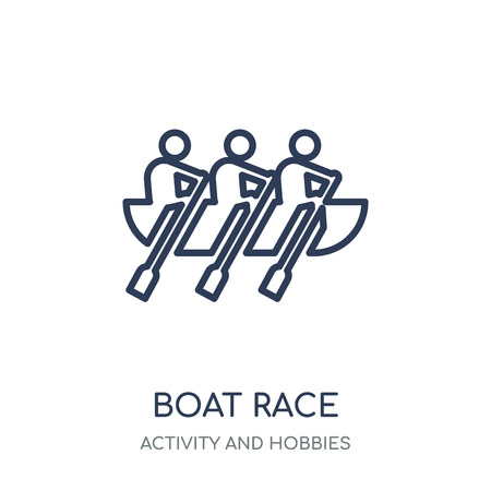 Boat race icon. Boat race linear symbol design from Activity and Hobbies collection. Simple outline element vector illustration on white background.