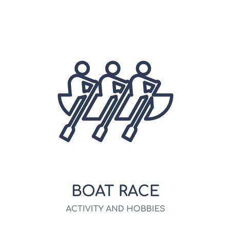Icône de course de bateau. Conception de symbole linéaire de course de bateau de la collection d'activités et de loisirs. Illustration vectorielle de contour simple élément sur fond blanc.