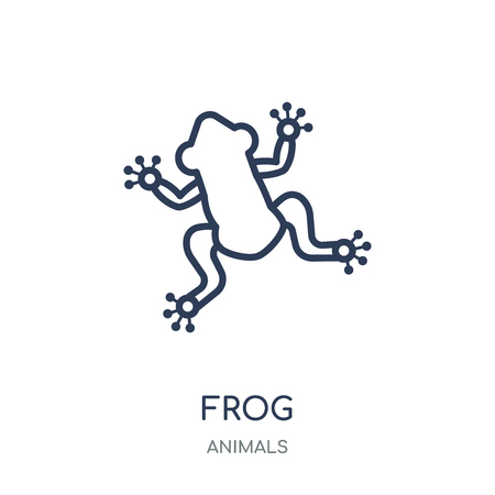 Frog icon. Frog linear symbol design from Animals collection. Simple outline element vector illustration on white background. Illustration