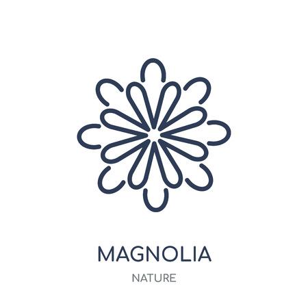 Magnolie-Symbol. Lineares Symboldesign der Magnolie aus der Nature-Kollektion. Einfache Entwurfselementvektorillustration auf weißem Hintergrund. Vektorgrafik