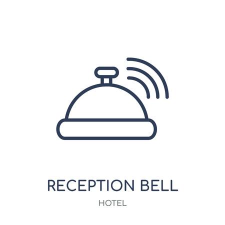 Icône de cloche de réception. Conception de symbole linéaire de cloche de réception de la collection d'hôtel. Illustration vectorielle de contour simple élément sur fond blanc.