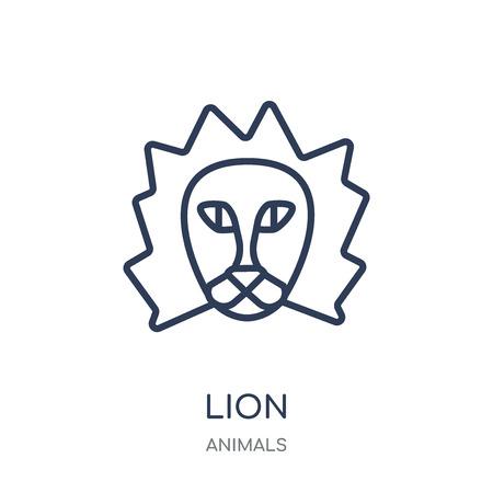 Icono de león. Diseño de colección de animales en León símbolo lineal. Ilustración de vector de elemento de contorno simple sobre fondo blanco.