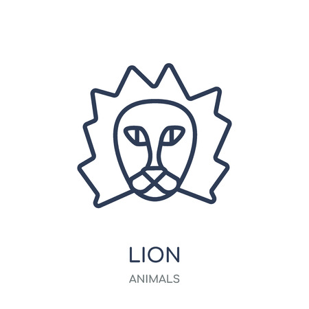 Lion icon. Lion linear symbol design from Animals collection. Simple outline element vector illustration on white background.