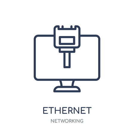 Ethernet icon. Ethernet linear symbol design from Networking collection. Simple outline element vector illustration on white background.