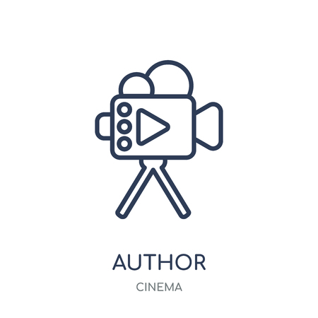 Author Sign icon. Author Sign linear symbol design from Cinema collection. Simple outline element vector illustration on white background.