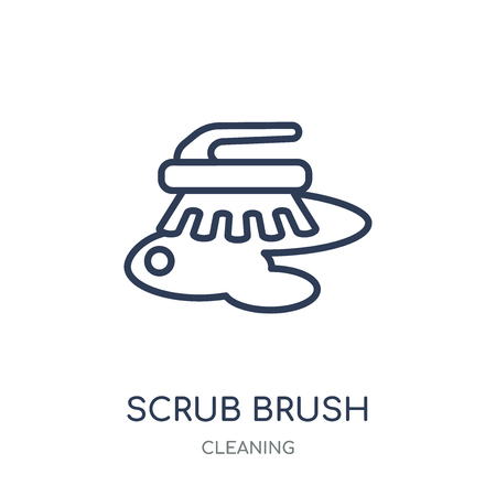 scrub brush icon. scrub brush linear symbol design from Cleaning collection. Simple outline element vector illustration on white background. Ilustração