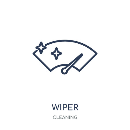 Wiper icon. Wiper linear symbol design from Cleaning collection. Simple outline element vector illustration on white background. Çizim