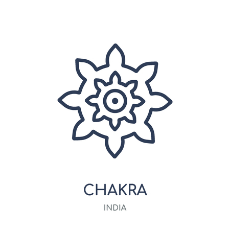 Chakra icon. Chakra linear symbol design from India collection. Simple outline element vector illustration on white background.
