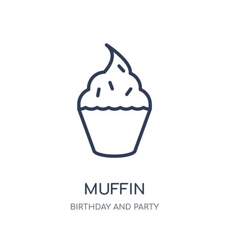 Icono de muffin. Diseño de colección de cumpleaños y fiesta en Muffin símbolo lineal. Ilustración de vector de elemento de contorno simple sobre fondo blanco. Ilustración de vector
