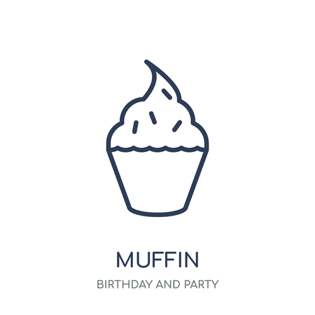 Muffin-Symbol. Muffin lineares Symboldesign aus der Geburtstags- und Partykollektion. Einfache Entwurfselementvektorillustration auf weißem Hintergrund. Vektorgrafik