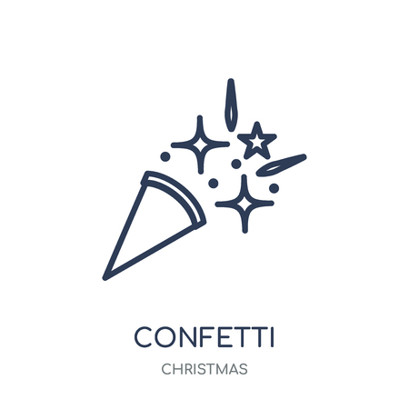 Confetti icon. Confetti linear symbol design from Christmas collection. Simple outline element vector illustration on white background.
