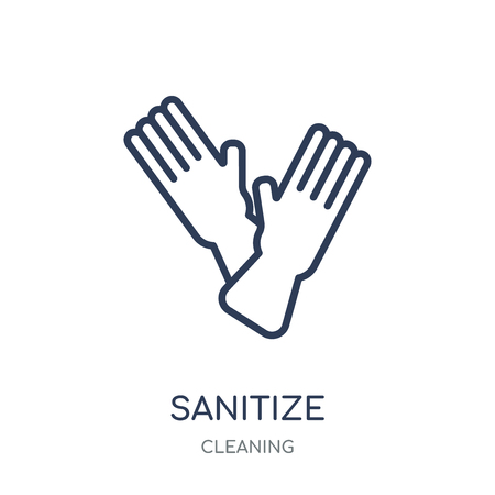 sanitize icon. sanitize linear symbol design from Cleaning collection. Simple outline element vector illustration on white background.