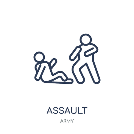 Assault icon. Assault linear symbol design from Army collection. Illustration