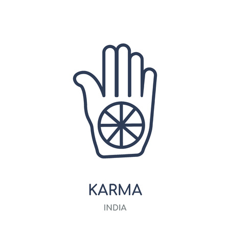 Karma icon. Karma linear symbol design from India collection. Simple outline element vector illustration on white background. Illustration