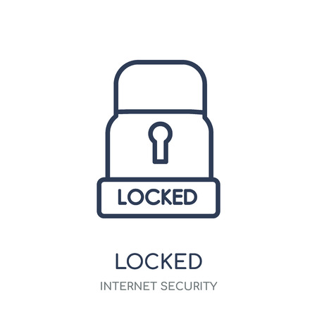 Locked icon. Locked linear symbol design from Internet security collection. Simple outline element vector illustration on white background. Çizim
