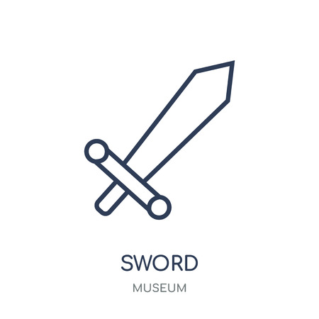 Sword icon. Sword linear symbol design from Museum collection. Simple outline element vector illustration on white background.