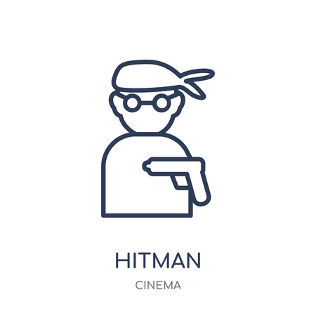 hitman icon. hitman linear symbol design from Cinema collection. Simple outline element vector illustration on white background.