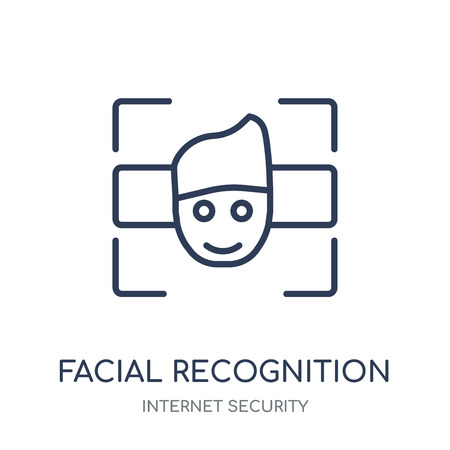 Facial recognition icon. Facial recognition linear symbol design from Internet security collection. Simple outline element vector illustration on white background.