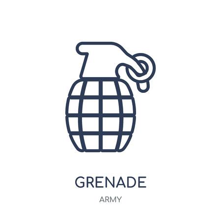 Grenade icon. Grenade linear symbol design from Army collection.
