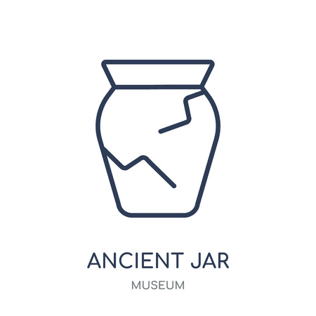 Ancient jar icon. Ancient jar linear symbol design from Museum collection. Simple outline element vector illustration on white background.  イラスト・ベクター素材