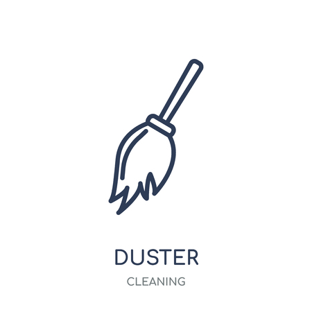Duster icon. Duster linear symbol design from Cleaning collection. Simple outline element vector illustration on white background. Standard-Bild - 111821918