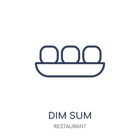 Dim sum icon. Dim sum linear symbol design from Restaurant collection. Simple outline element vector illustration on white background. Stock Illustratie