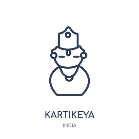 Kartikeya icon. Kartikeya linear symbol design from India collection. Simple outline element vector illustration on white background. Illustration