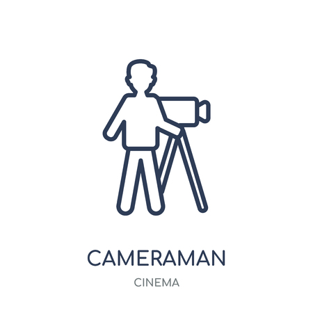 cameraman icon. cameraman linear symbol design from Cinema collection. Simple outline element vector illustration on white background. Vektorové ilustrace