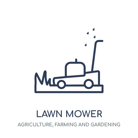 Lawn mower icon. Lawn mower linear symbol design from Agriculture, Farming and Gardening collection. Simple outline element vector illustration on white background.