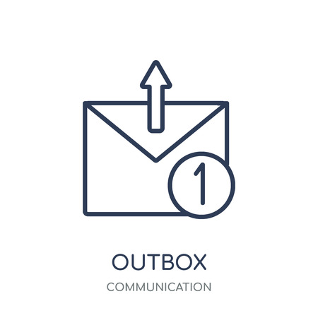 Outbox icon. Outbox linear symbol design from Communication collection. Simple outline element vector illustration on white background. Ilustración de vector