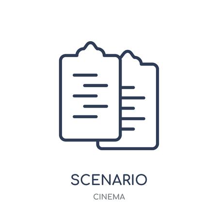 Scenario icon. Scenario linear symbol design from Cinema collection. Simple outline element vector illustration on white background. Ilustração
