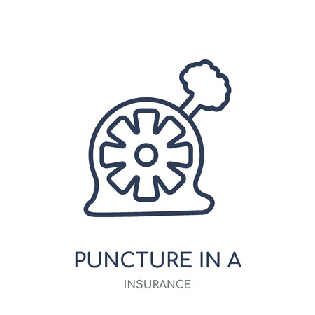 Puncture in a wheel icon. Puncture in a wheel linear symbol design from Insurance collection. Stockfoto - 111821980