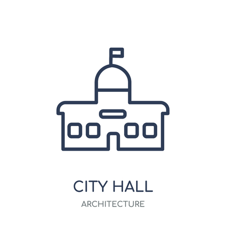 City hall icon. City hall linear symbol design from Architecture collection. Simple outline element vector illustration on white background. Stock Illustratie