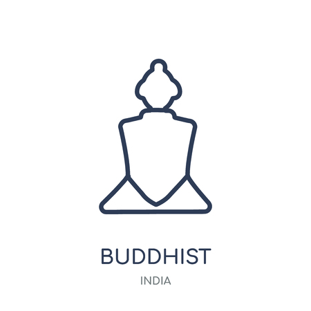 buddhist icon. buddhist linear symbol design from India collection. Simple outline element vector illustration on white background.