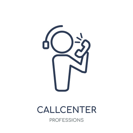 Callcenter icon. Callcenter linear symbol design from Professions collection. Simple outline element vector illustration on white background.